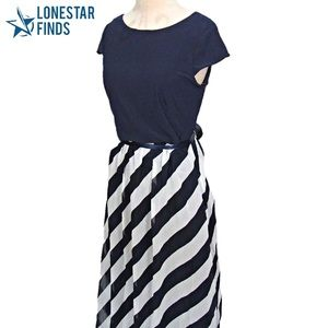 NWT SL Fashions Striped Maxi Missy Dress Size 12